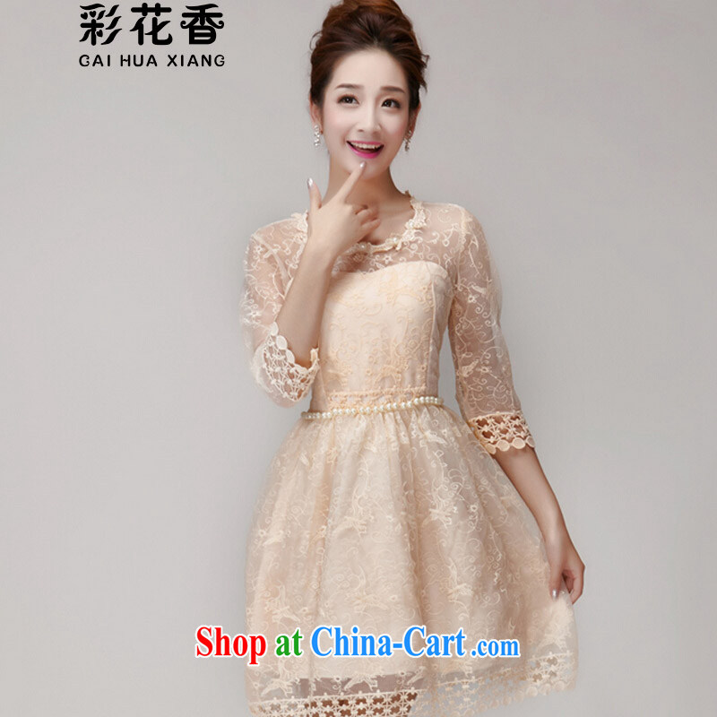 Colorful Flowers 2015 new summer staple pearl cultivation Princess skirt dress champagne color erase chest bridesmaid dresses small 696 apricot S