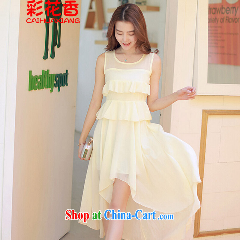 Colorful Flowers summer 2015 new Korean snow woven dresses does not rule long skirt short before long dovetail dress 9351 champagne color L