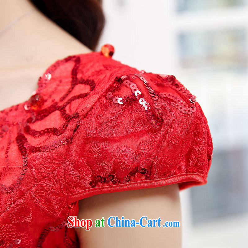 Air Shu Diane back to door service bridal summer short-sleeved dresses red dress uniform toast Web yarn lace dresses red wedding dress red XL, aviation Shu Diane, shopping on the Internet