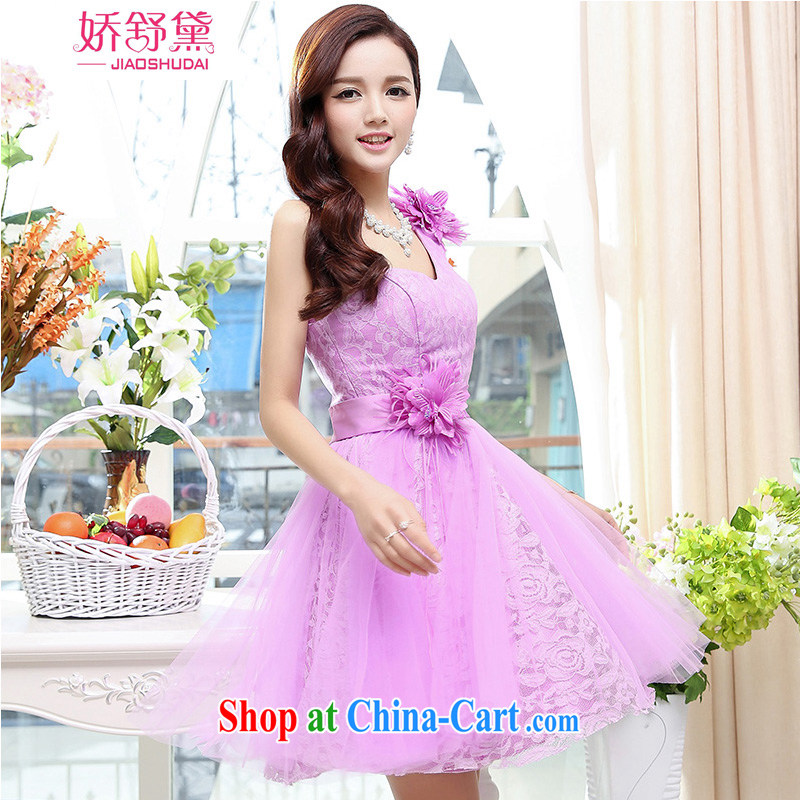 Air Shu Diane 2015 new female lovely stylish sexy collar dresses sleeveless short skirts, dresses purple XL
