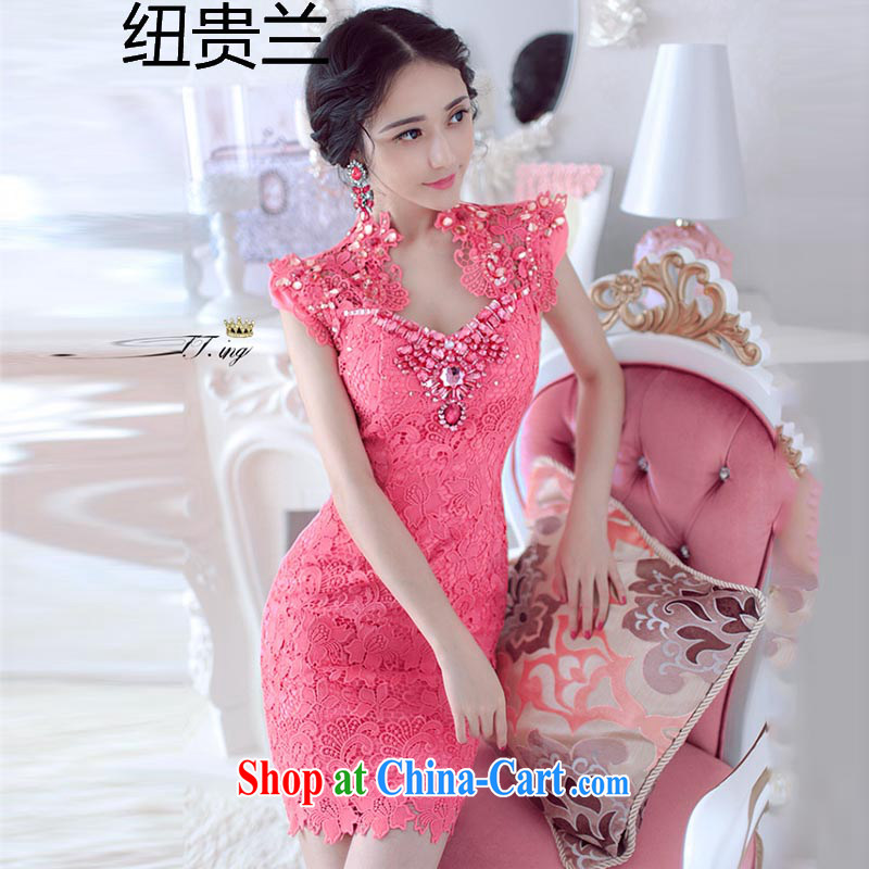 The Newmont, 8103 _2015 Ching-ching Sau to the Parquet drill lace embroidery of flowers and dresses evening dress of red