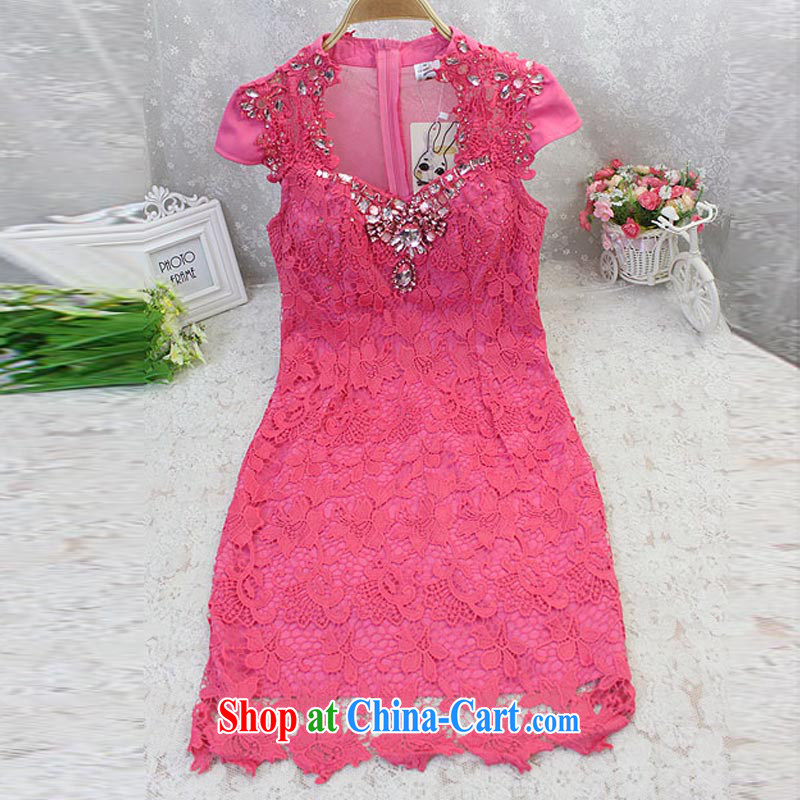 The Newmont, 8103 #2015 Ching-ching Sau to the Parquet drill lace embroidery of flowers and dresses evening dress of red, the N脙录rburgring, and shopping on the Internet