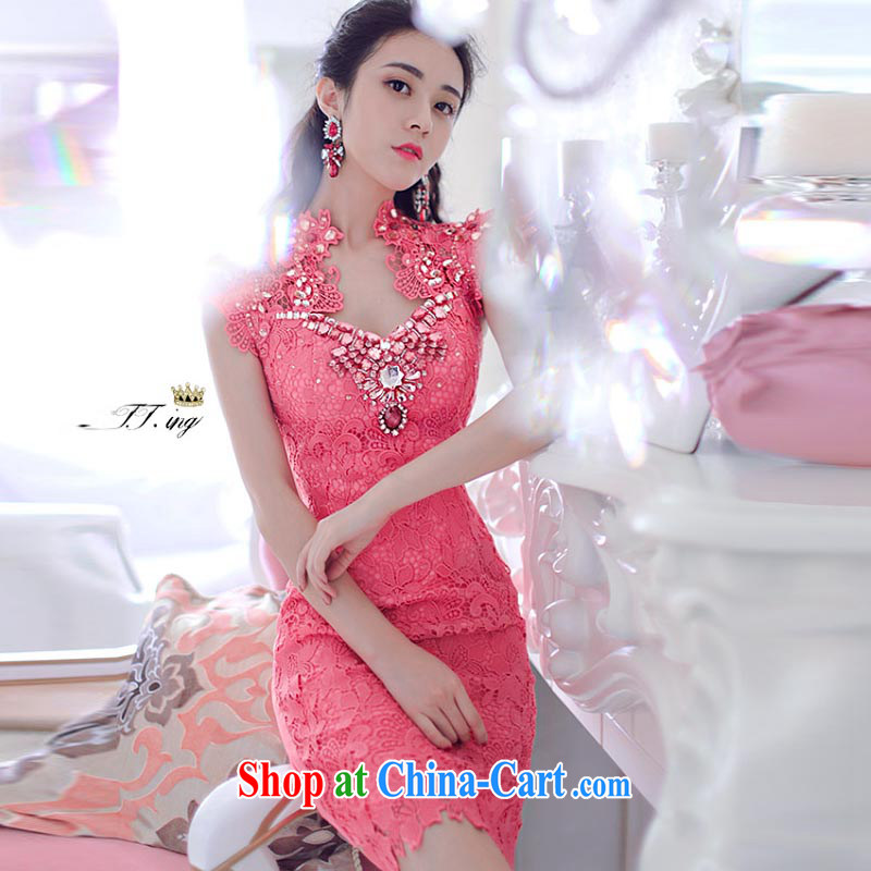 The Newmont, 8103 #2015 Ching-ching Sau to the Parquet drill lace embroidery of flowers and dresses evening dress of red, the Nürburgring, and shopping on the Internet