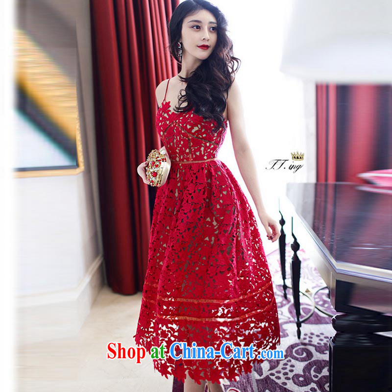 the Nürburgring, 035 #2015 summer new Ching Ching Dynasty small-tong network red lace water-soluble Openwork strap dresses red XL, new zealand your LAN, Internet shopping
