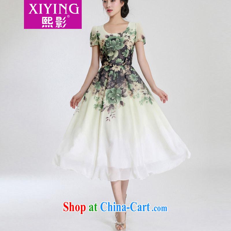 Hee-shadow dress 2015 summer new style dress short-sleeved snow woven in cultivating long beach skirt retro 1506 light green flower XL