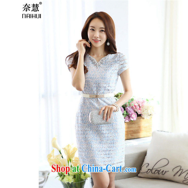 V leading toward a female inserts drill short sleeve retro banquet bride toast wedding bridesmaid dress moderator retro dress beauty dresses summer 2015 new dresses blue (the belt) XXL (Good Quality)