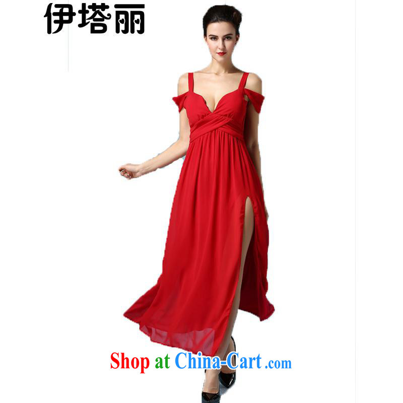 The Lai 2015 spring and summer, the Korean version of the greater code beauty graphics thin sexy high fork dresses evening dress dress dress long skirt red L