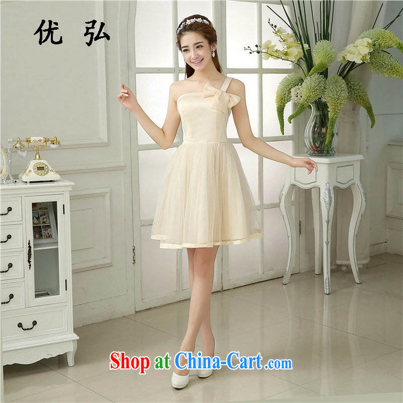 Optimize Hong-Xia new short bridesmaid dress evening gown bridal wedding toast Stage service sister serving Korean MZ 5844 champagne color code