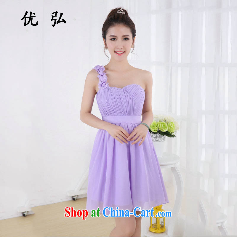 Optimize Hong-dress short, small dress bridal wedding dress uniforms snow woven dress sister dress bridesmaid service wy 694 purple are code