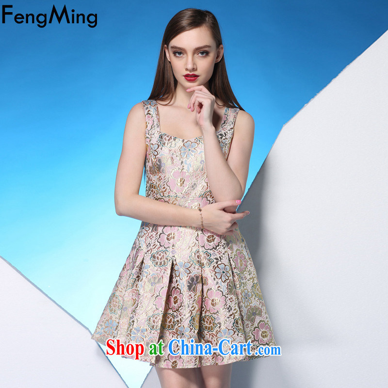 Abundant Ming 2015 summer new cultivating small dress girls pink jacquard large straps dress suit XL