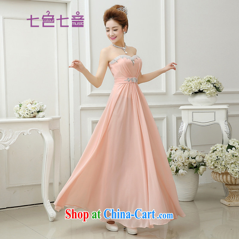 7-Color 7 tone summer 2015 new Snow-woven wipe chest long bride toast wedding service banquet dress L 006 pink, tie-_ M