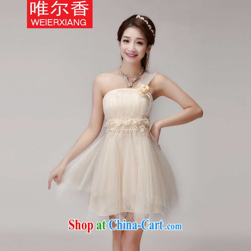 Only Hong Kong, summer 2015 new bridesmaid dresses in banquet dress sister skirt short, small dress 258 apricot L