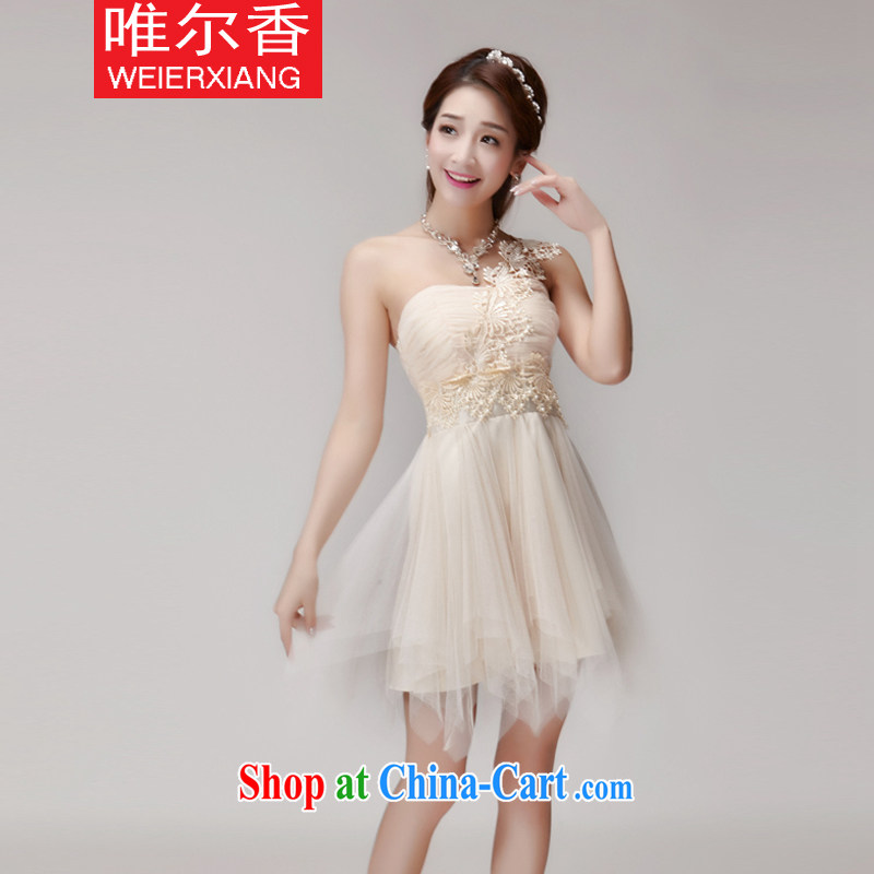 Only, 2015 Hong Kong New staple Pearl bridesmaid sisters serving short skirts, bare chest banquet dress small dress summer 888 apricot L