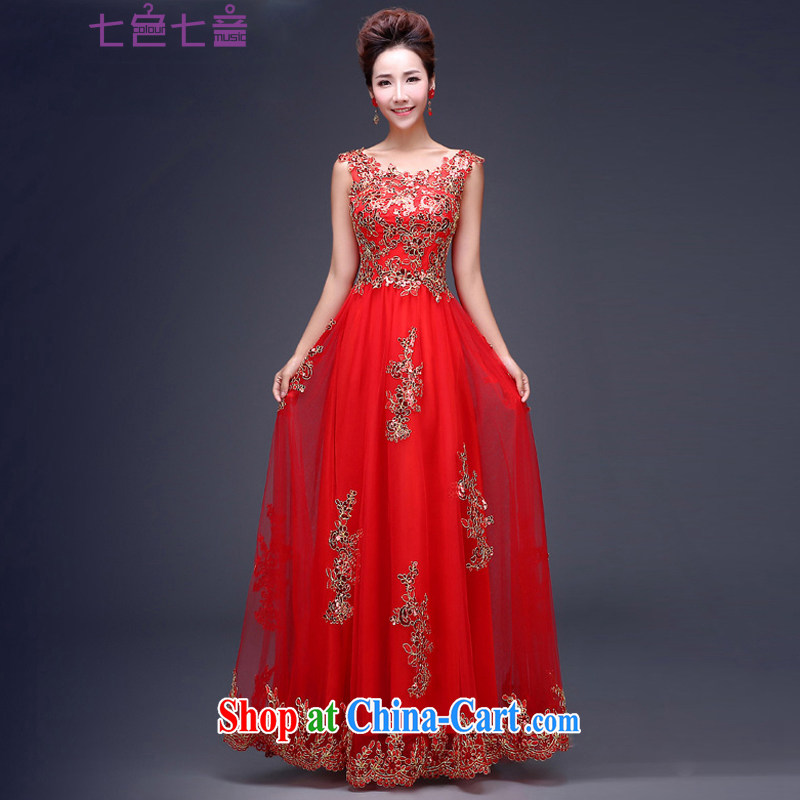 7 color 7 tone bridal 2015 new marriage Ms. dress the Code Red bows dress L 034 sleeveless long XL