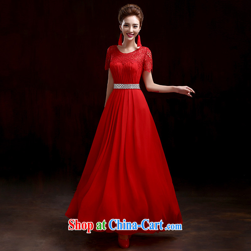 2015 fall and winter new stylish dress embedded drill lace wedding long dual-shoulder beauty dress bridal toast serving red M