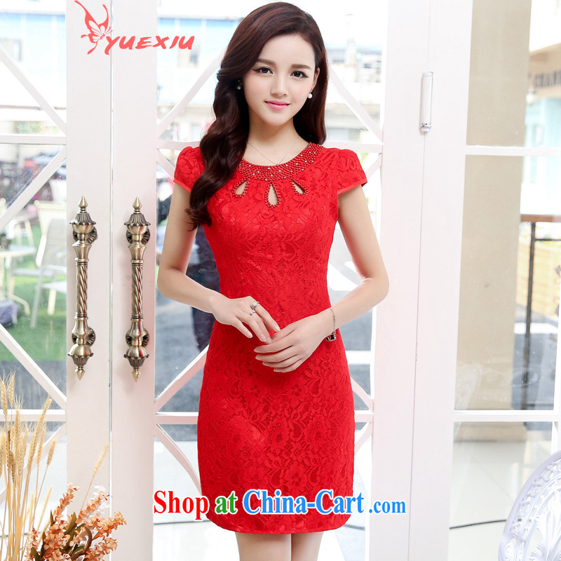 Read Sau cheongsam dress short 2015 new national style lace Openwork beaded beauty bridesmaid marriage with toast serving women serving performances HC 539 red L