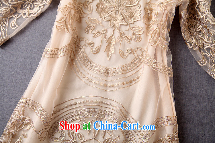 Caynova summer 2015 new, modern Europe and the embroidery 100 hem beauty dress dress gold XL pictures, price, brand platters! Elections are good character, the national distribution, so why buy now enjoy more preferential! Health