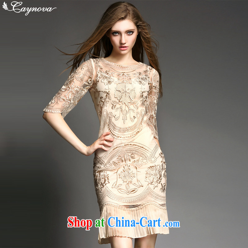 Caynova summer 2015 new, modern Europe and the embroidery 100 hem beauty dress dress gold XL, Caynova, shopping on the Internet
