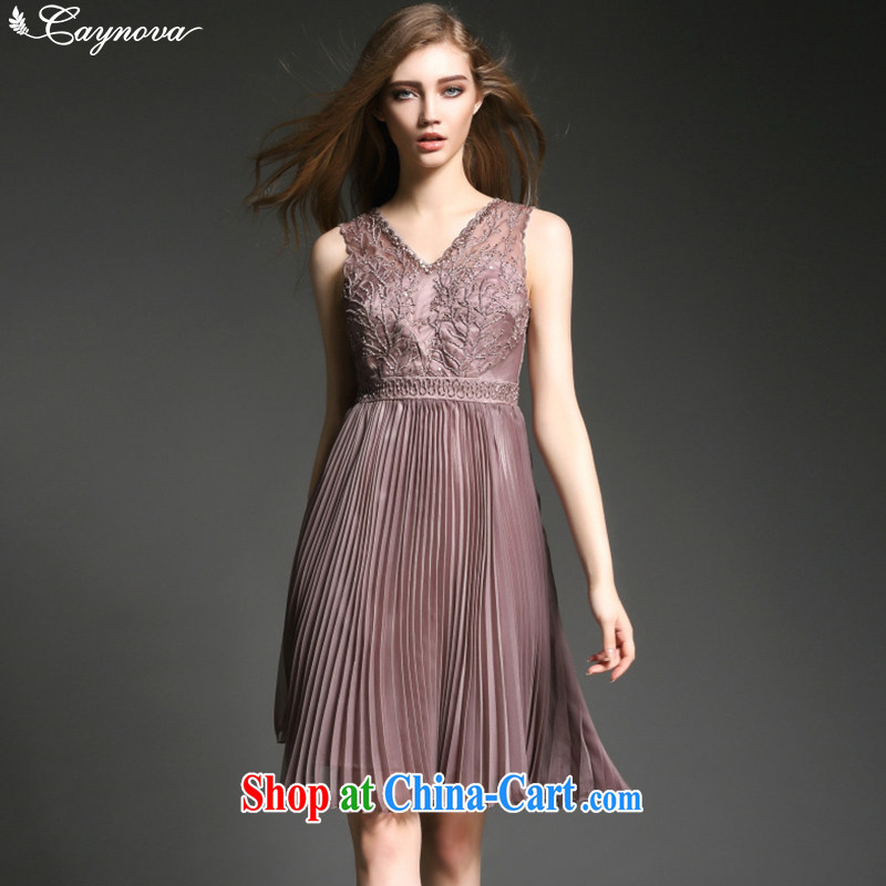 Caynova summer 2015 new women with luxury nails Pearl embroidery 100 hem beauty dress skirt ��ɳ color XL