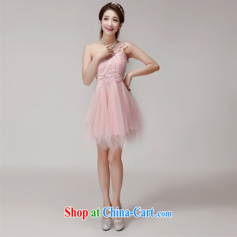 Advisory Committee the world 2015 New staple Pearl bridesmaid sister serving short skirts, bare chest banquet dress small dress summer pink L