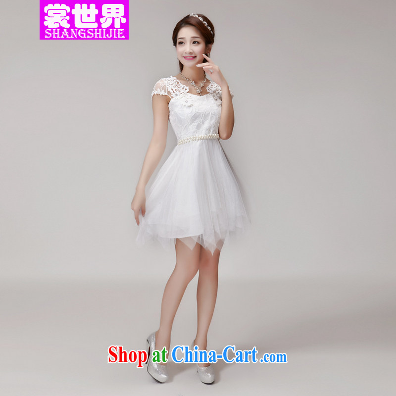 The Advisory Committee 2015 summer hook blossoms, manually set drill stones name Yuan Princess elasticated waist dress dress white L