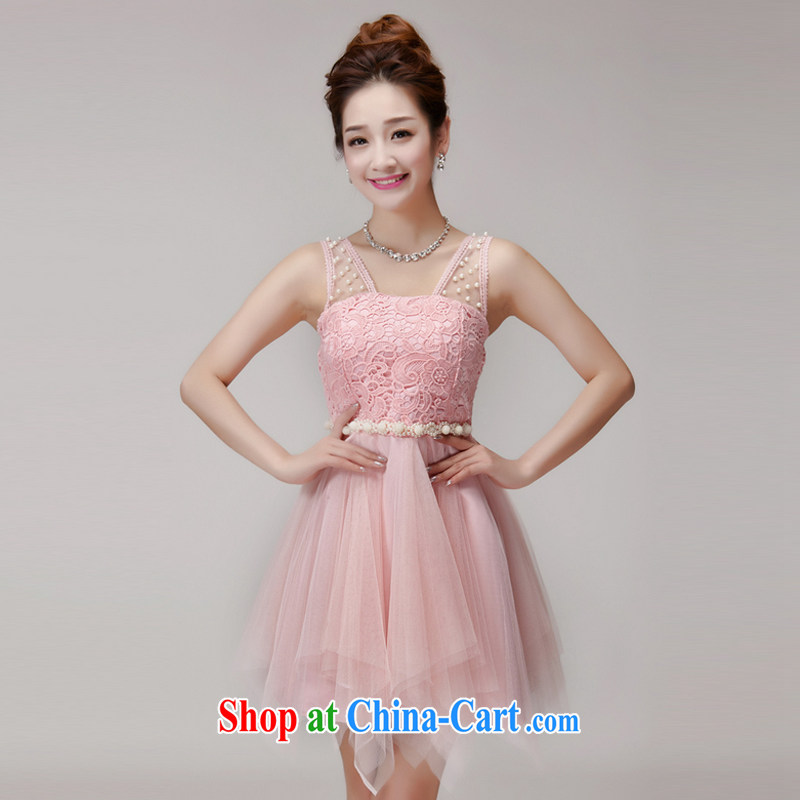 The Advisory Committee 2015 summer lace hook spent manually staple Princess Pearl shaggy dress yarn Web elastic waist dress dress pink L