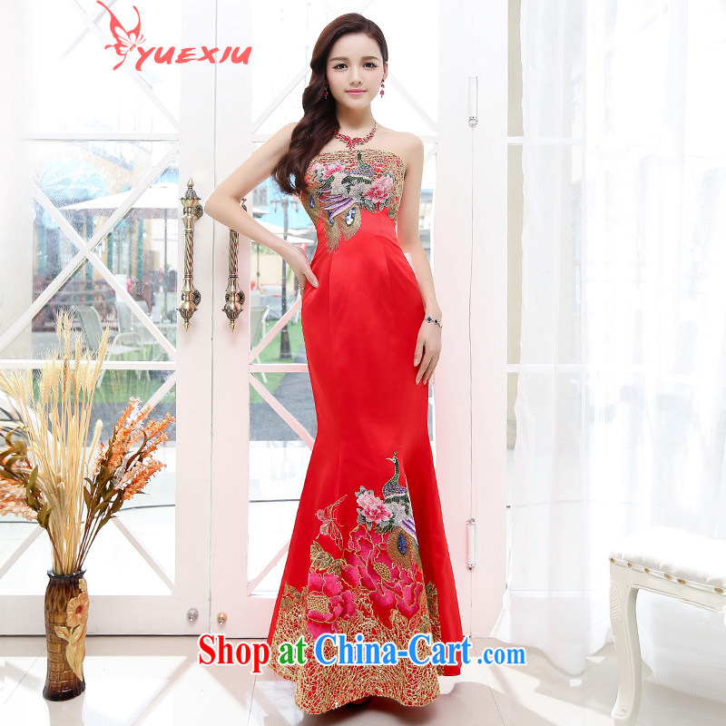 To show at Merlion dress 2015 new stylish erase chest Phoenix embroidered toast clothing women's clothing uniforms dresses HC 550 large red XL