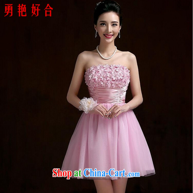Yong-yan and bridesmaid clothing 2015 marriage spring bridesmaid dresses in female small dress dresses short bridal toast clothing summer pink. size color will not be returned.