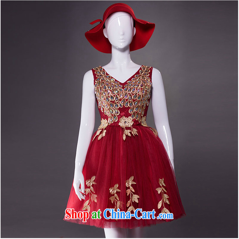 White home about bridal dresses wedding bows new dual-shoulder fashion annual small dress female red evening dress short banquet 2015 new wine red tailored contact Customer Service