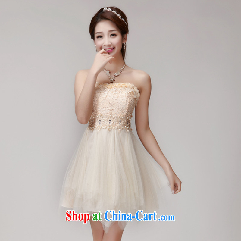Connie vines into Lai, the 2015 manual staple Pearl inserts drill style beauty chest bare dresses bridesmaid groups dress skirt apricot L