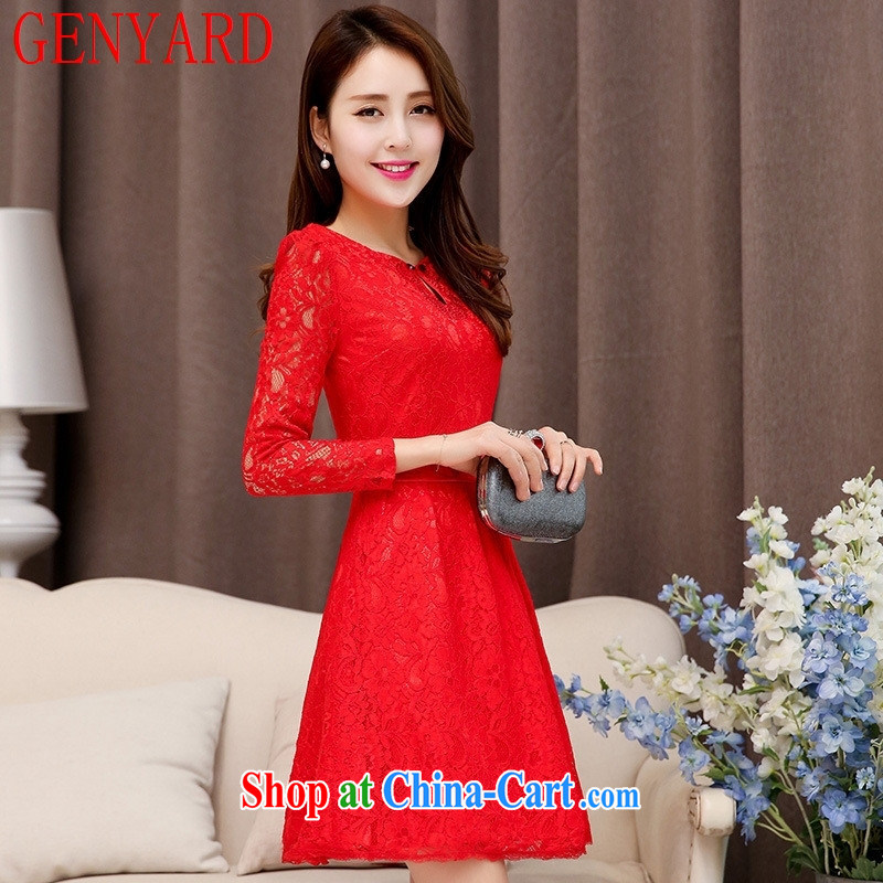 Qin Qing store 2015 spring and summer New Red Openwork long-sleeved banquet style beauty lace small dress red XXL