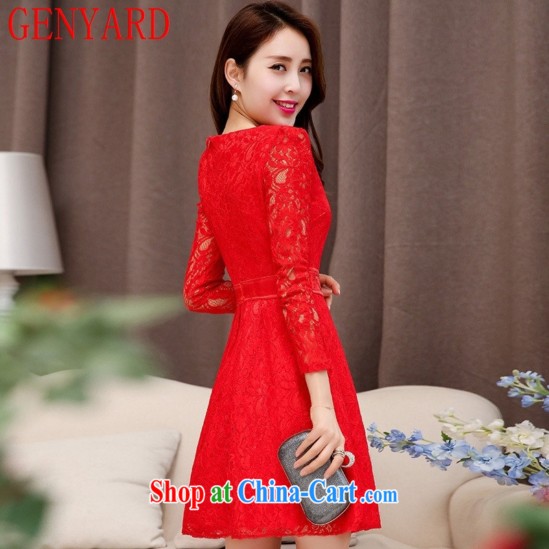 Qin Qing store 2015 spring and summer New Red Openwork long-sleeved banquet style beauty lace small dress red XXL, GENYARD, shopping on the Internet
