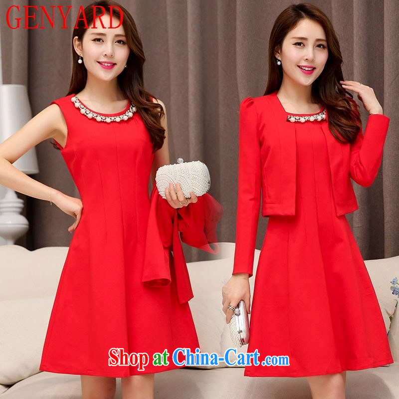 Qin Qing store 2015 spring and summer New with necklace round-collar bubble sleeve two-piece dress dress dress red XXL