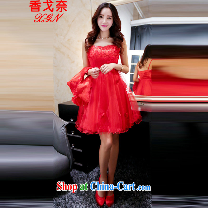 The Shannon Gore, 2015 new Openwork embroidery dress dress two-piece toast serving the door red bridesmaid clothing red M