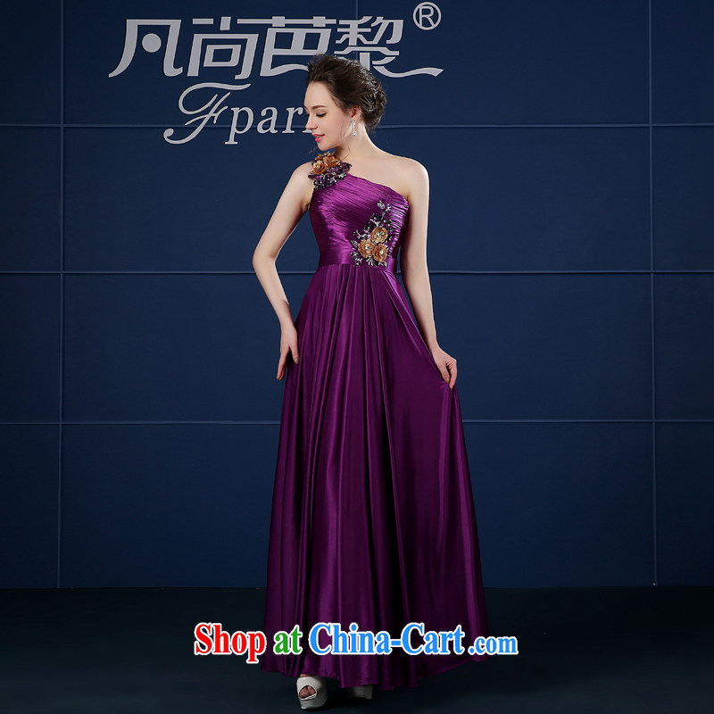 Ladies Evening Dress 2015 new spring bridesmaid dress single shoulder moderator dress skirt girls long red toast clothing purple XXL