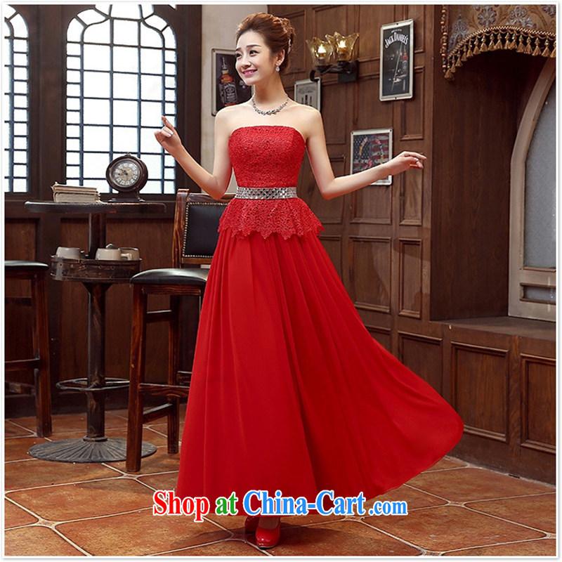 Long dress bridal bridesmaid wedding dress wedding toast service wedding Evening Dress long bridal replacing 2015 New Red XL