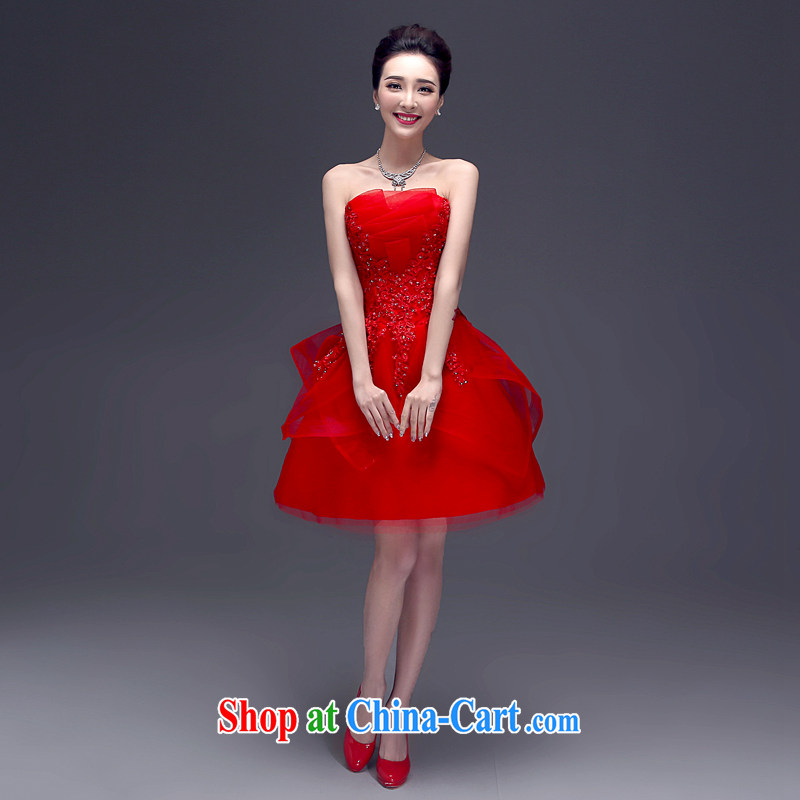 Connie focus 2015 new toast wiped his chest short summer bridal wedding dress banquet dress female LF 0003 red L