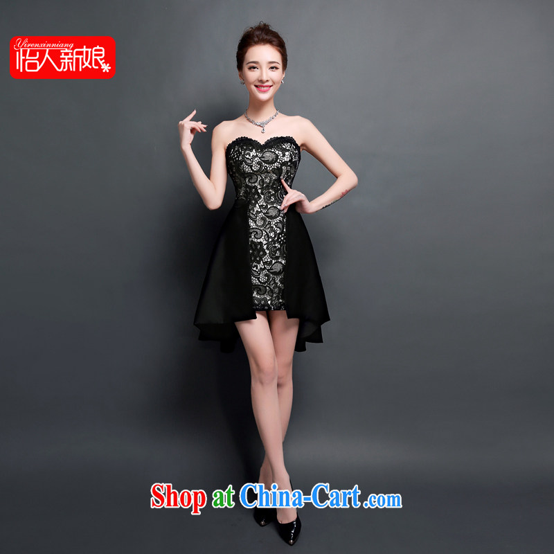 Evening Dress 2015 new Summer Dance Night dance party short bows serving dinner will be black night birthday small dress skirt pleasant bridal black XL