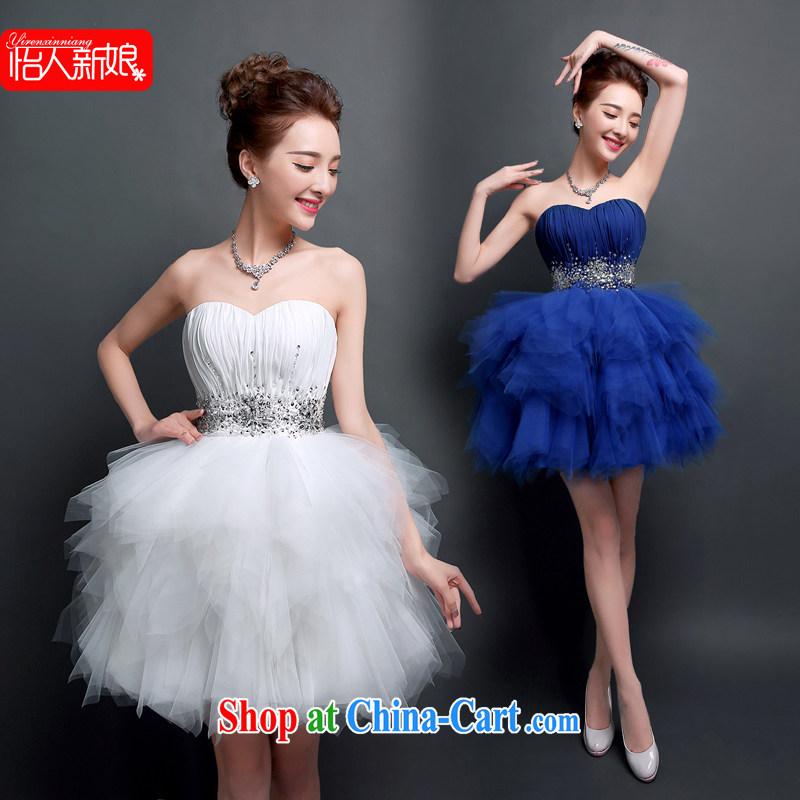 Evening Dress 2015 new erase chest summer short shaggy dress bridal the wedding toast serving dinner meeting ball small blue dress skirt pleasant bridal blue S