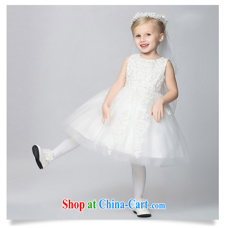 Pure bamboo yarn love children Princess skirt Chumphon skirts flower children's wear dress girl wedding dress summer girls uniforms white 160 CM