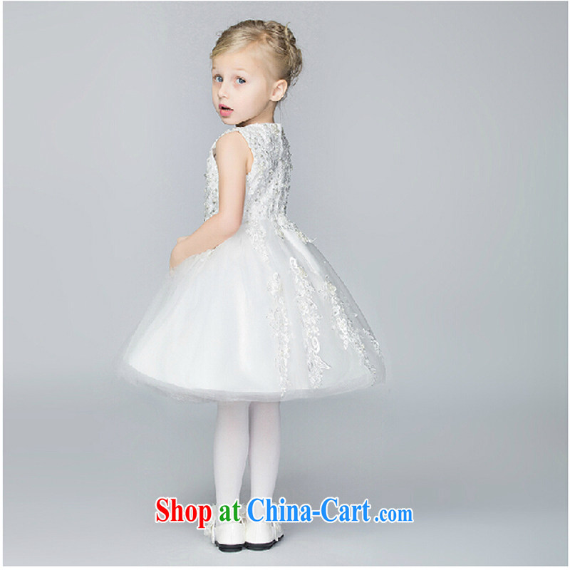 Pure bamboo yarn love children Princess skirt and shaggy dress flower dress children's wear girls' wedding dress summer girls uniforms white 160 CM, pure bamboo love yarn, shopping on the Internet