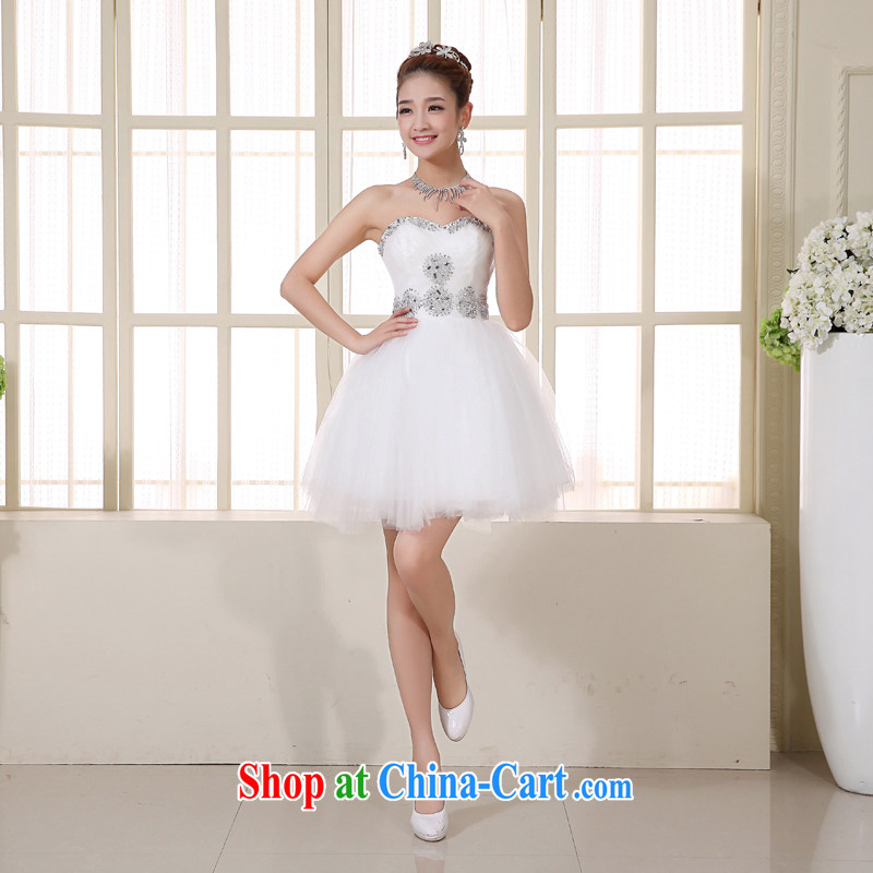 Yi love is 2015 new wedding dresses beauty red short erase chest bridal wedding toast clothing sexy bridesmaid evening dress small dress girl wedding toast clothing spring and summer white to make the $30 does not return