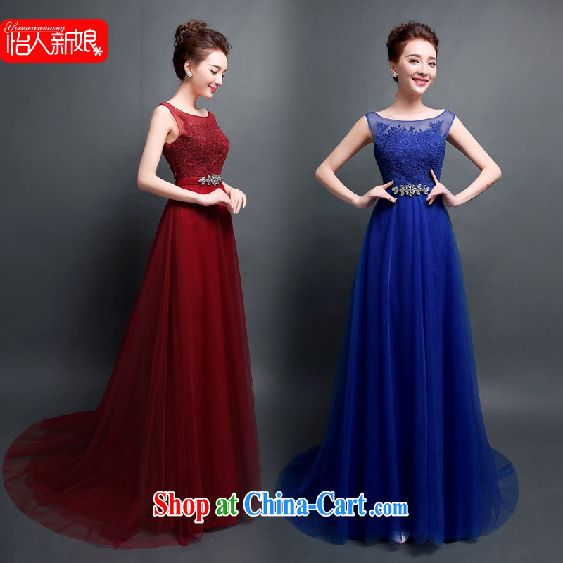Evening Dress 2015 new bride toast serving long, Dinner Dance double-shoulder blue, evening dress pleasant bridal wine red XXL