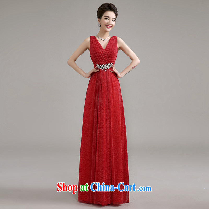 Yi love is summer, 2015 new marriage long dual-shoulder Evening Dress red toast serving marriages waist inserts drill bridesmaid dress long summer female Red to make the $30 does not return