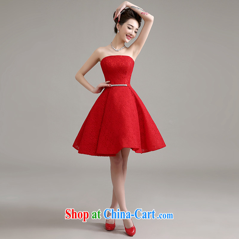 Yi love is 2015 spring and summer new banquet dress stylish wedding toast service bridal gown wedding red short, small dress the betrothal female Red to make the $30 does not return