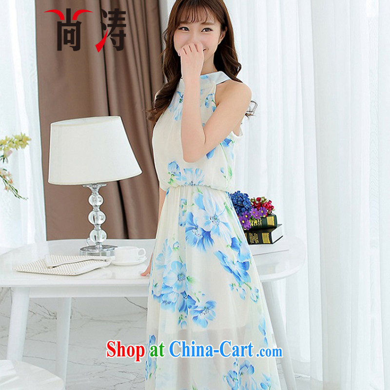 It's summer 2015 new female beach terrace terrace back shoulder-mounted too long skirt Korean beauty charm small dress snow woven dresses girls summer 0605 B white XL