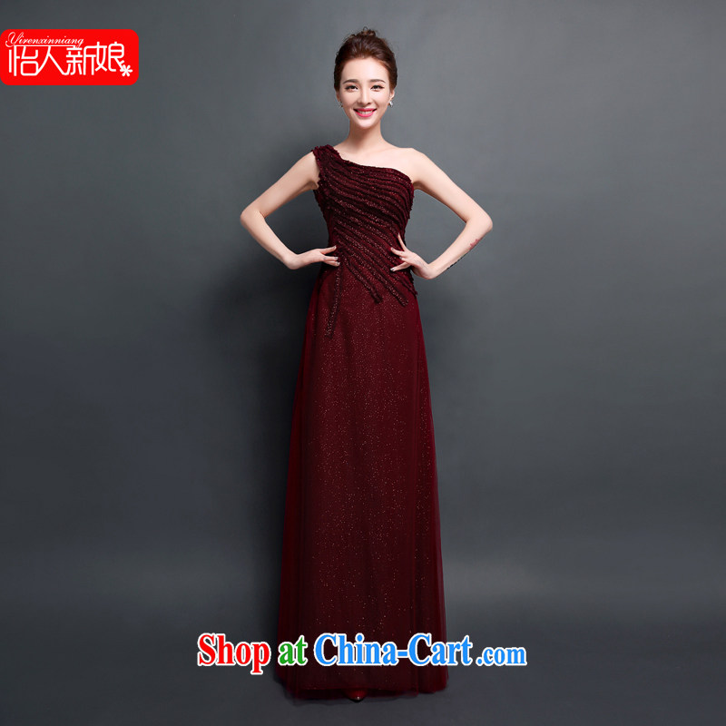 Evening Dress 2015 new bride toast serving long, Dinner Dance, shoulder, Moderator Evening Dress dress dress pleasant bridal wine red XXL