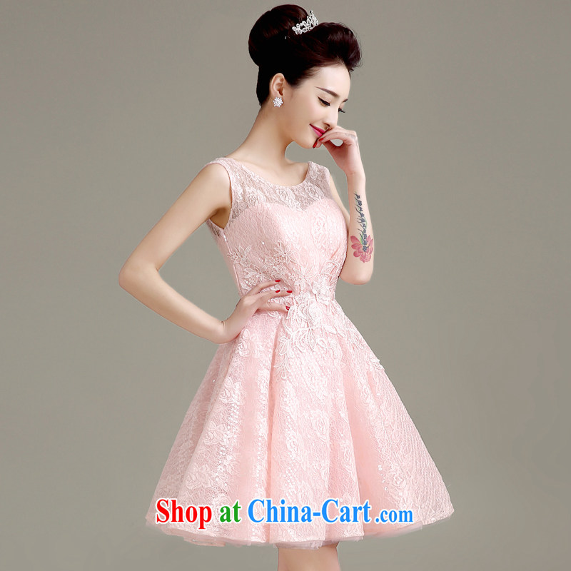 Clothing and love is still 2015 spring and summer new lace wedding dresses small short Evening Dress skirt double-shoulder bridal toast clothing bridesmaid dress and female pink to make the $30 does not return