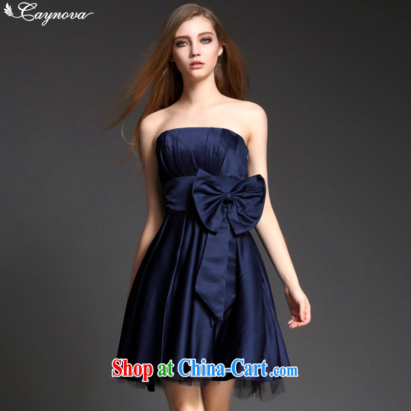 2015 Caynova name Yuan fashion ladies dress style dress a field for erase chest dress dark blue XL