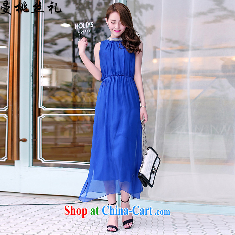 Cayman business, Gift wedding dress suits long skirt summer female new Korean high-end stylish beaded round-collar sleeveless beauty long snow-woven dresses wedding bridesmaid evening dress blue XL